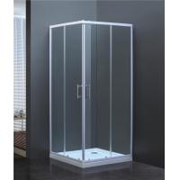Buy cheap Corner Square Shower Cubicle with Double Sliding Door White Painted Low Price from wholesalers