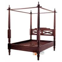 China Scroll Bali Antique Style Canopy Bed Frame on sale