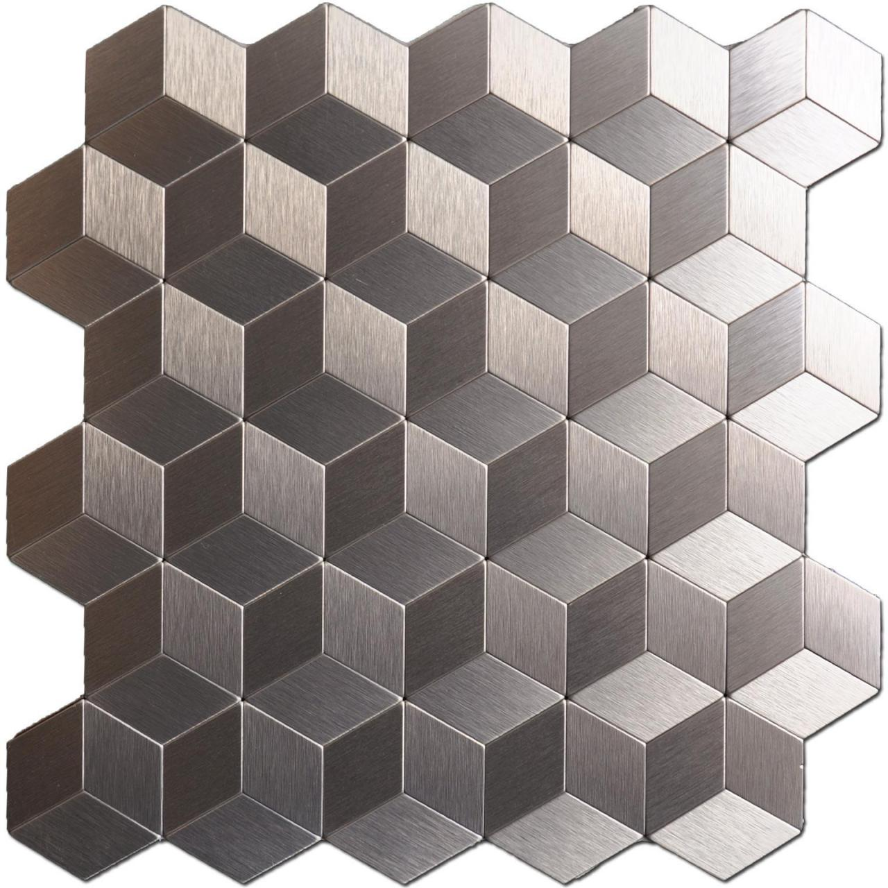 Buy cheap A16062 - Peel & Stick Metal Backsplash for Kitchen, Cubic Copper, Set of 10 from wholesalers