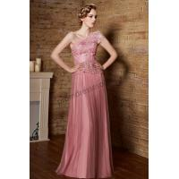 Pink One-Shoulder Embroidery Tulle A-Line Promdress S893 Manufactures