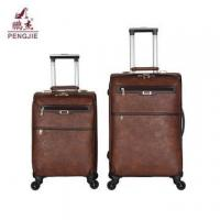 High quality soft PU leather trolley luggage Manufactures
