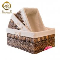 KINGWILLOW,Handmade Woven Maize and Hyacinth Storage Basket