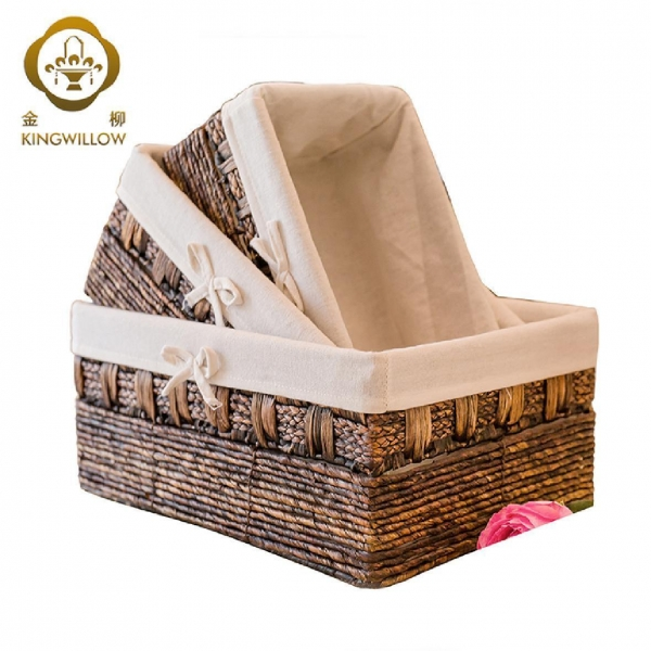 Quality KINGWILLOW,Handmade Woven Maize and Hyacinth Storage Basket for sale