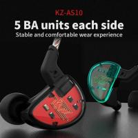 Dynamic Units KZ AS10 5BA HiFi Stereo in-Ear Earphone High Resolution Earbud Headphone Cable Manufactures