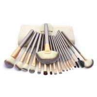 China Wholesale 18 pieces Synthetic Hair Cosmetic Private Label Makeup Brush Set with PU cosmetic bag on sale