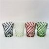 Quality horn shape hand made sprayed color glass candle jar for sale