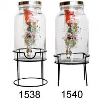 China 1.5 Gallon Lead Free Glass Fruit Infuser Water Bottle With Black Rack on sale
