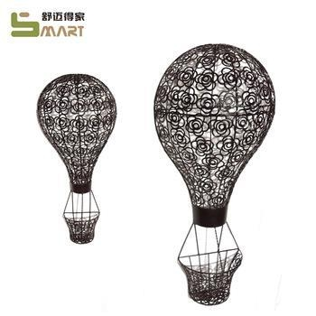 Quality Iron Wall Hanging Black metal hot air balloon cute wall hanging for sale
