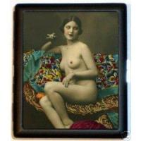 China Metal cigarette case Flapper Smoking Pin Up Risque Cigarette ID Case on sale