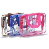 China 3 pieces set transparent clear plastic makeup bag travel zipper cosmetic bag on sale