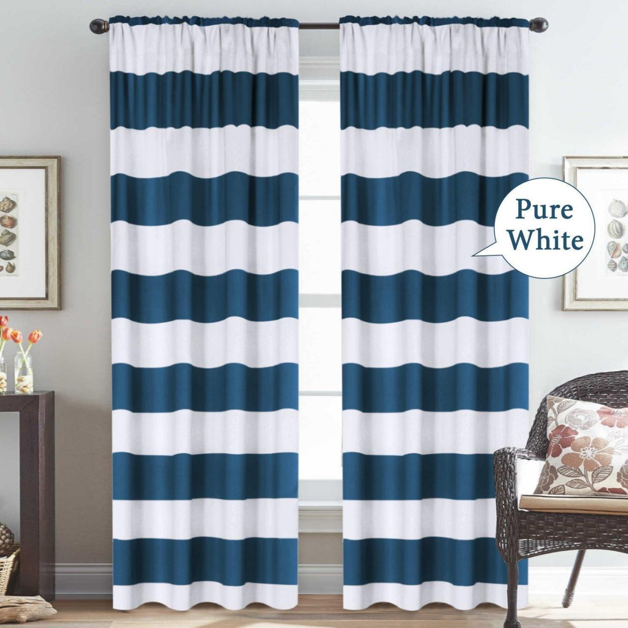 China Window Treatment Thermal Insulated Rod Pocket Room Darkening Striped Curtains Drapes for Bedroom/Liv on sale