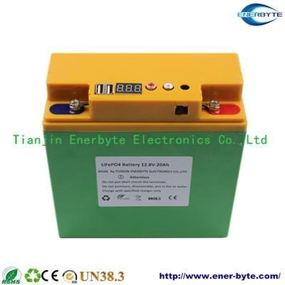 Quality LiFePO4 Battery Pack 12.8V 20ah with Dual USB 5V for sale