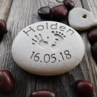 Quality Custom Engraved Name Stone, Personalised Pebble Rock Gift for New Baby, Naming Day AP34 for sale