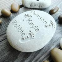 Quality Custom Family Engraved Stone, Personalised Pebble Engraved Name Rock Gift for New Baby for sale
