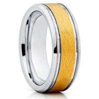 China 8mm gold plated mens wedding bands tungsten carbide wedding rings on sale