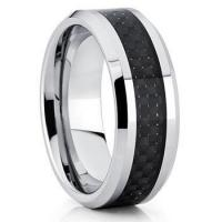 unique black carbon fiber inlay tungsten carbide wedding band rings for him 8mm Manufactures