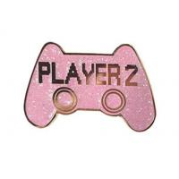 Hard Enamel Pin 2 Epoxy Coated glitter game player Lapel Pin