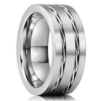 Unique Tungsten Carbide Wedding Ring with Stainless Steel Chain Inlay Manufactures