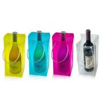 Blue PVC ice bag with logo printing for wine cooler Manufactures