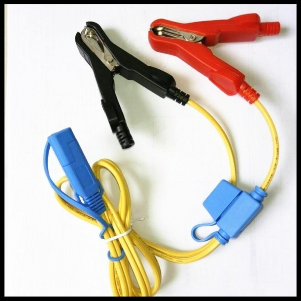 China car battery charger cable alligator clips to sae plug with fuse box
