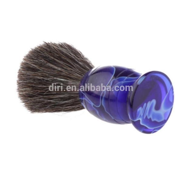 Quality New arrival Horse Tail Hair Blue Acrylic Handle Shaving Brush for sale