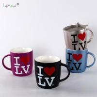 logo printed wholesale customized porcelain tea mug ceramic coffee cup with lid Manufactures