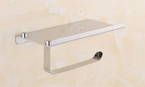 China 304 Stainless steel sanitary cell phone towel rack creative toilet paper stand mirror brushed