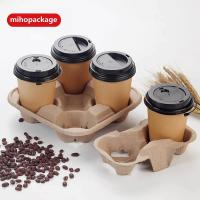 China Disposable Pulp Mould Coffee Cup Holder / Carrie on sale