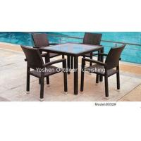 China 5-piece synthetic rattan wicker outdoor patio glass top garden dining table 4 armchairs-8032 on sale