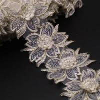 China Golden Knit 9.5cm Width gold bone line stereo barcode flower embroidery lace dress clothing on sale