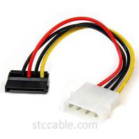 China 6in 4 Pin Molex to Left Angle SATA Power Cable Adapter on sale