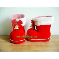 plastic Christmas boots red plastic Christmas boots with bell and bow Manufactures