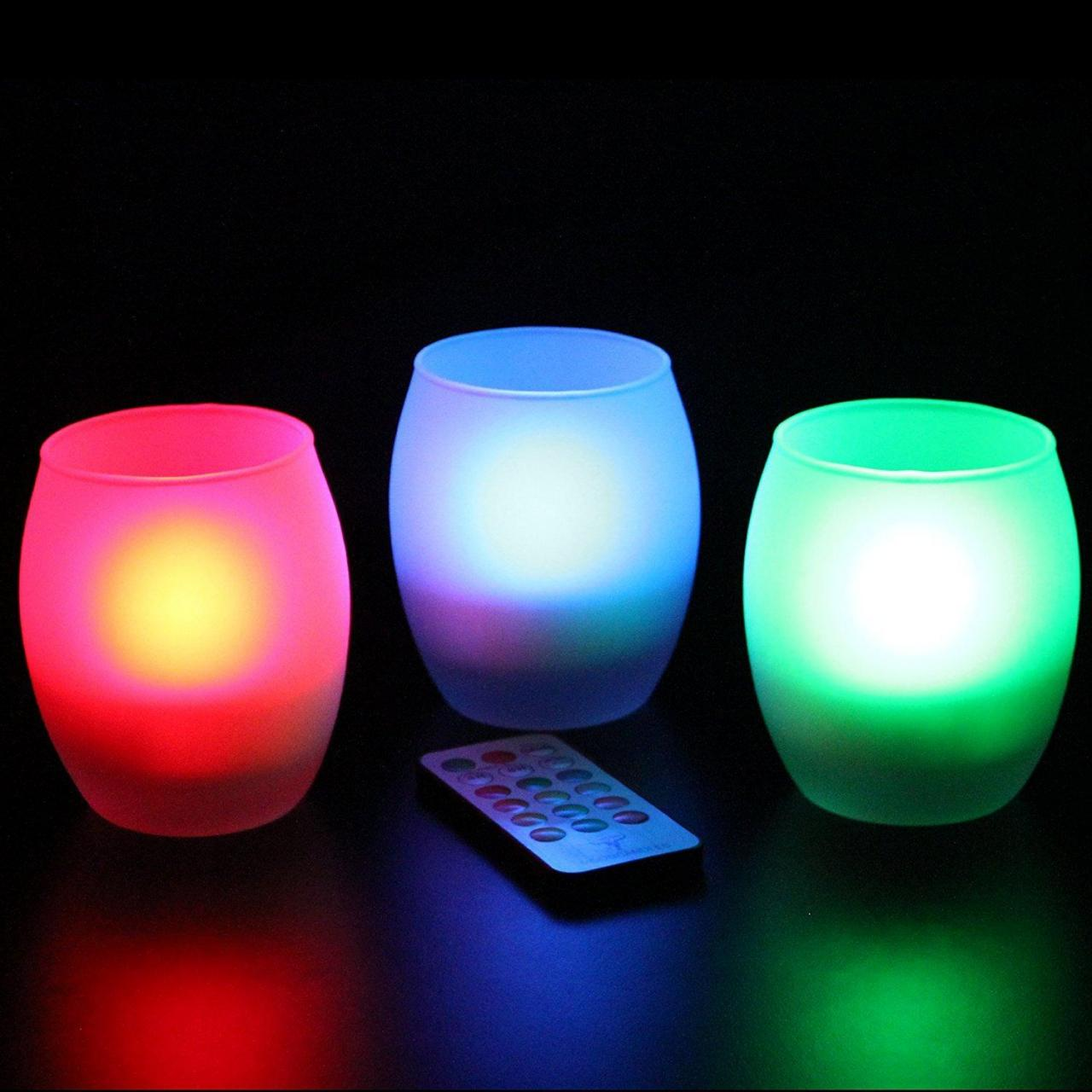 Frostfire Mooncandles Frosted Glass Color Changing Candles with Remote Control, Set of 6 Manufactures