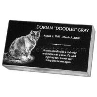 Black Granite Cat Memorials Etching Tombstone Manufactures