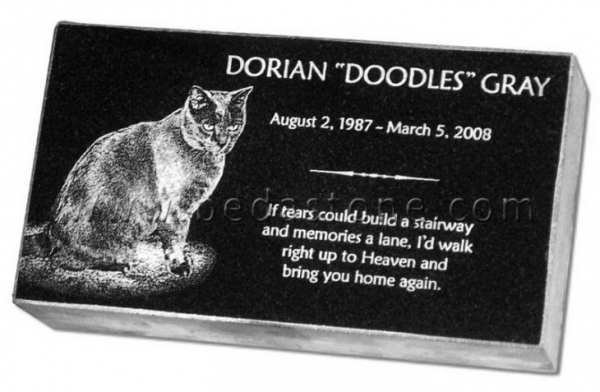 China Black Granite Cat Memorials Etching Tombstone