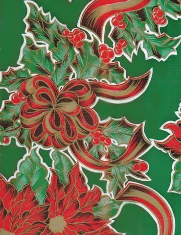 Quality Christmas Ribbons and Holly Green Oilcloth for sale