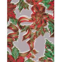 Christmas Ribbons and Holly Silver Oilcloth Manufactures