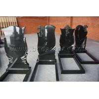 Buy cheap Black Headstone with Cross Pencil Engraving from wholesalers