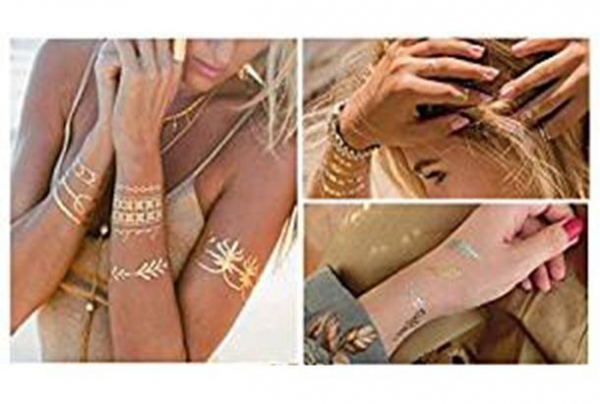 Quality Makerfire Tattoo Waterproof Metallic Temporary Tattoo 16sheets in Gold Silver Sticker Body Fake Jewe for sale
