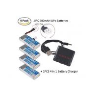 China 4PCS JJRC LiPo Battery 500mAh 1S 3.7V 20C with Molex Plug + 1PCS 4 in 1 3.7V RC Battery Charger for on sale