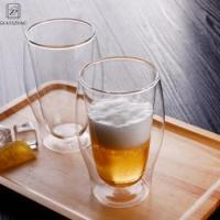 Buy cheap 17oz Transparent Double Wall Glass Beer Cup Withstand High and Low Temperature from wholesalers