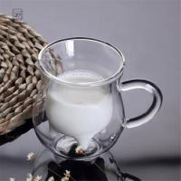 Buy cheap Wholesale Transparent New Design Double Wall Glass Cup with Handle from wholesalers
