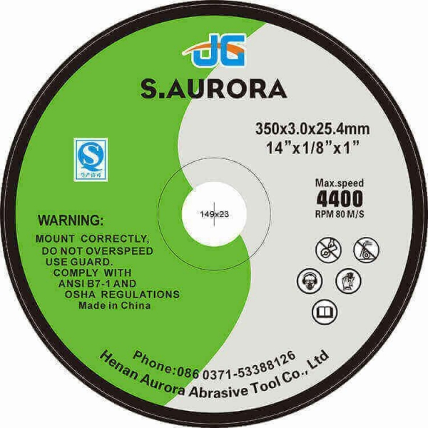 China 14 Inches High Quality Fiber Flat Abrasive Cutting Disc for Stainless Steel Chinese Supplier