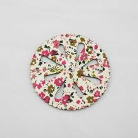Decorative wood Coaster patterned with screen print facric ZWC1811 Manufactures